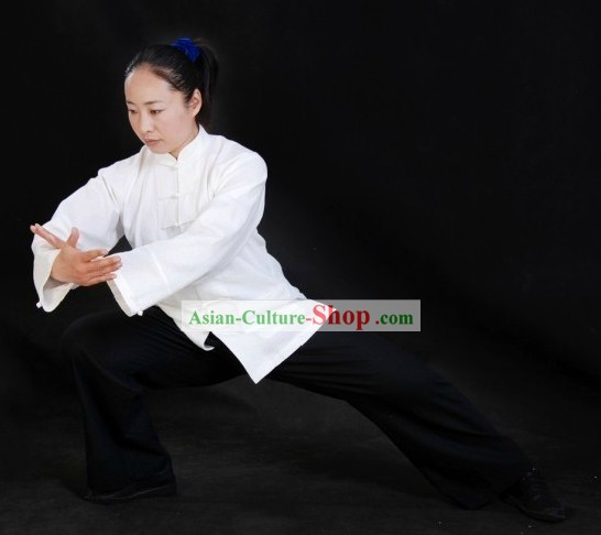 Traditional White Tai Chi Blouse and Black Pants