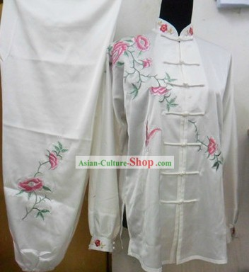White Formal Butterfly and Flower Love Kung Fu Silk Uniform for Women
