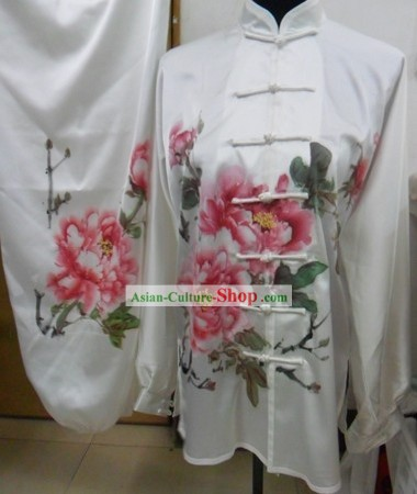 Long Sleeve Silk Hand Painted Peony Tai Chi Competition Uniforms for Women