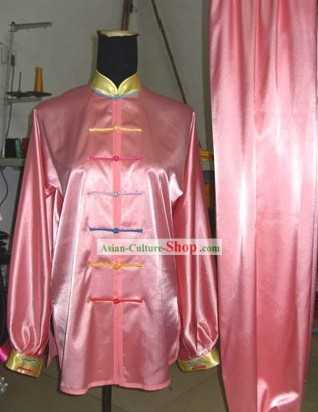Pink Silk Martial Arts Competition Uniforms for Women