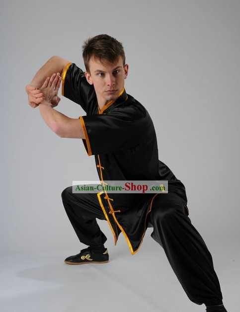 Black Kung Fu Martial Arts Silk Competition Uniform for Men or Women