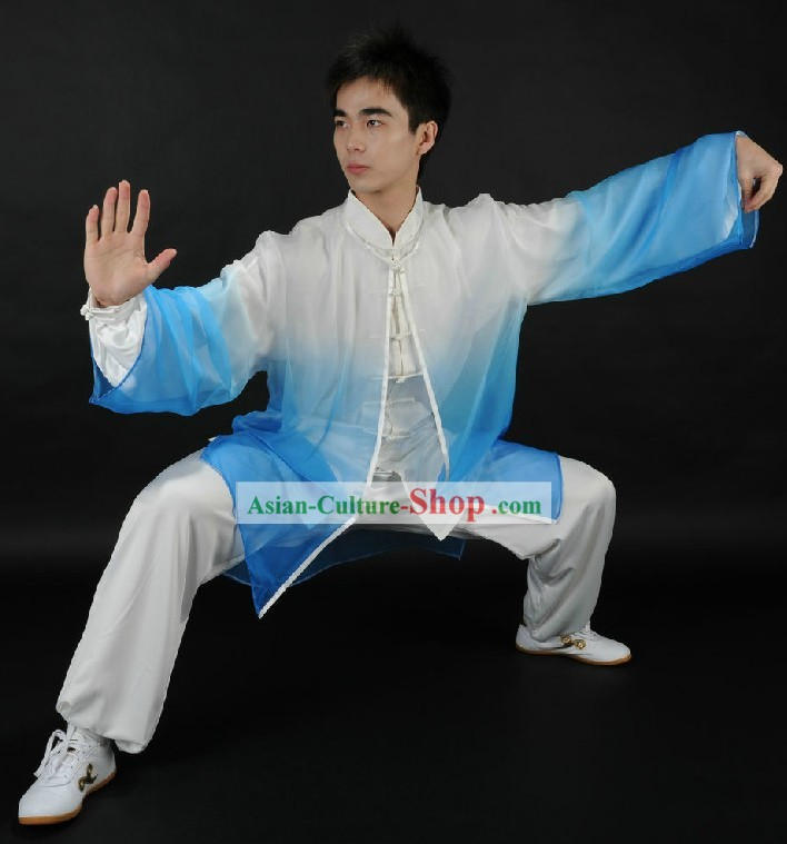 Traditional Chinese Kung Fu Silk Uniform and Mantle for Men