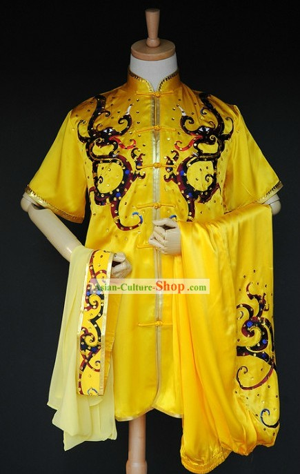 Chinese Classic Dragon Martial Arts Competition Uniform for Men