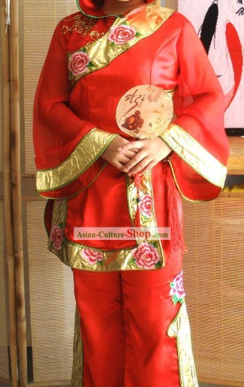 Ancient Chinese Red Fan Dance Costume Complete Set
