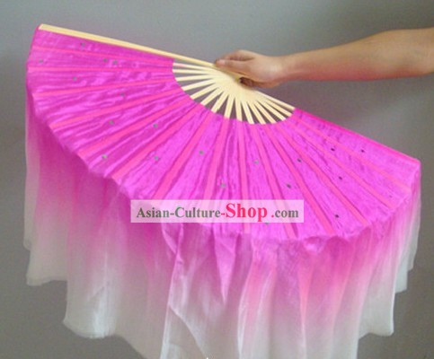 Chinese Color Transition White and Rose Sequins Silk Dance Fan