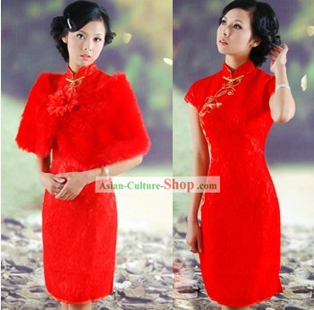 Old Shanghai Style Red Wedding Dress Set