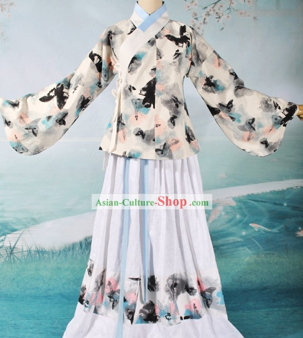 Ancient Chinese Ming Dynasty Female Butterfly Clothing Complete Set