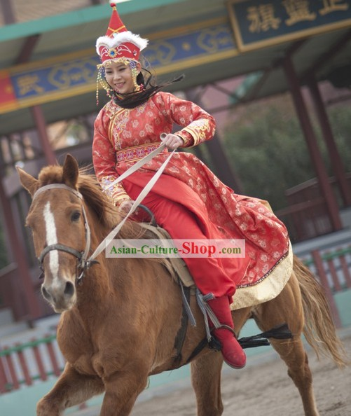 Ancient Mongolian Princess Costumes and Hat Complete Set