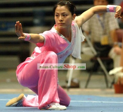 Pink Martial Arts Competition and Exercises Silk Suit for Women