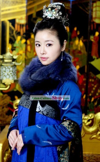 Chinese Tang Dynasty Empress Blue Clothing for Women