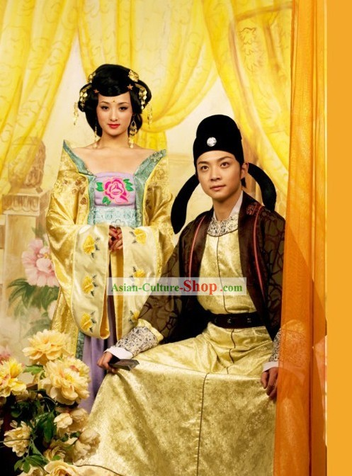 Ancient Chinese Tang Dynasty Husband and Wife Clothing and Hat Two Complete Sets