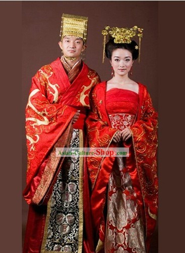 Traditional Chinese Wedding Garment Two Complete Sets for Men and Women