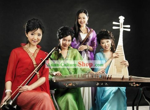 Traditional Chinese Musician Costumes Four Complete Sets for Women