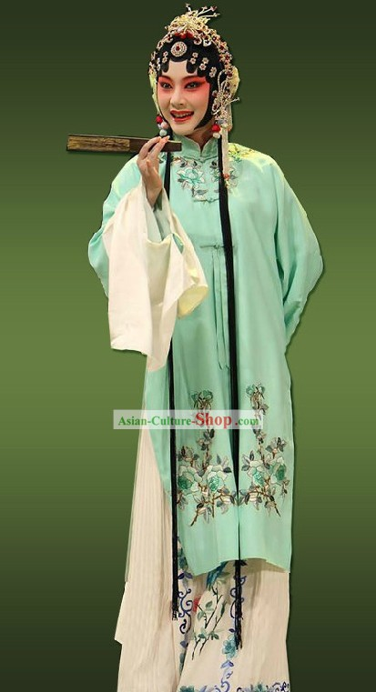 Chinese Opera Hua Dan Light Green Lady Costumes for Women