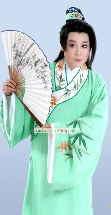 Chinese Opera Light Green Embroidered Bamboo Costumes for Men