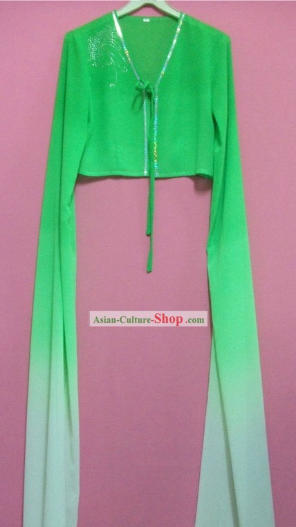 Green Color Transition Water Sleeve Dance Costumes