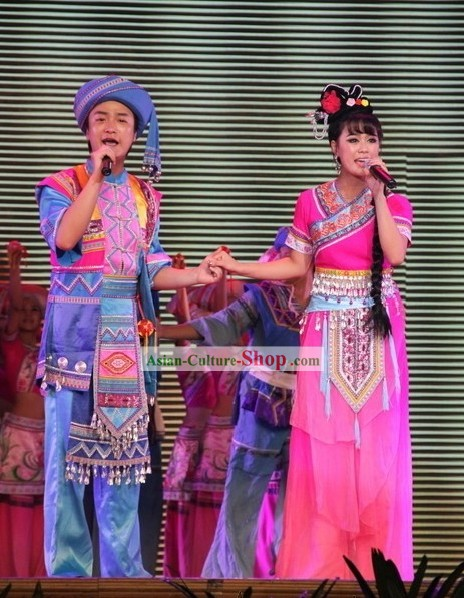 Chinese Ethnic Clothes and Hat Two Complete Set for Men and Women