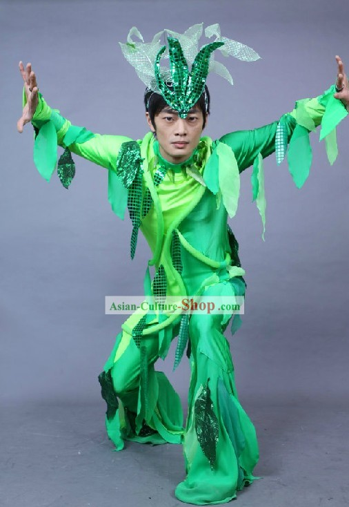 Chinese Green Leaf Dance Costumes Complete Set