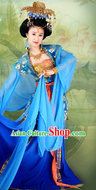 Ancient Chinese Imperial Palace Blue Long Sleeve Dance Costumes and Hair Accessories