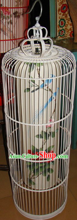 Chinese Classic Handmade and Painted Silk Birdcage Floor Lamp