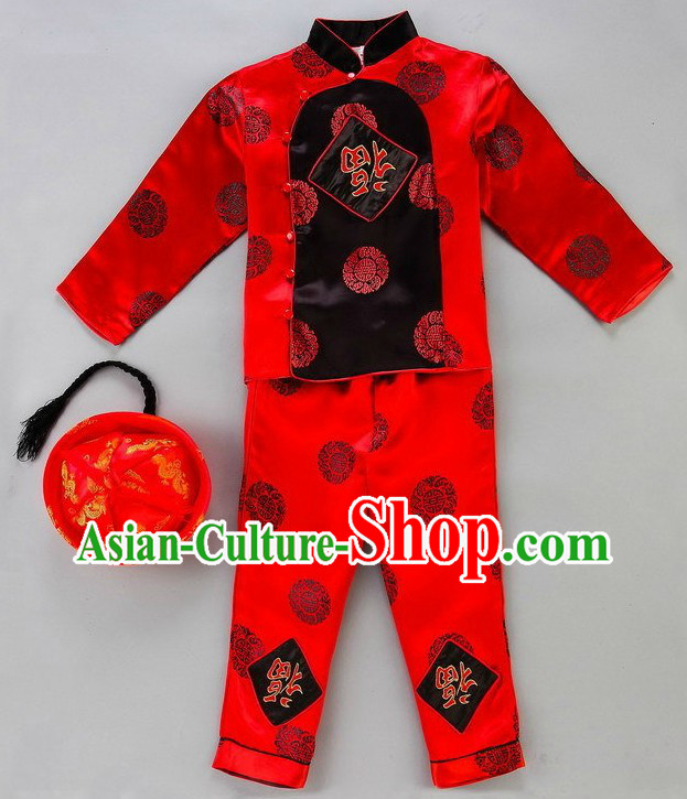 Happy Chinese New Year Dance Costumes and Hat for Kids