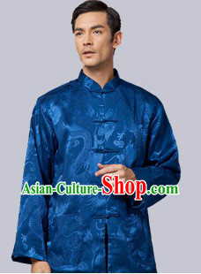 Traditional Chinese Blue Dragon Coat for Men