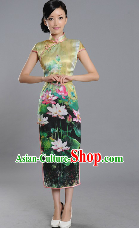 Traditional Chinese Summer Lotus Qipao Cheongsam for Women