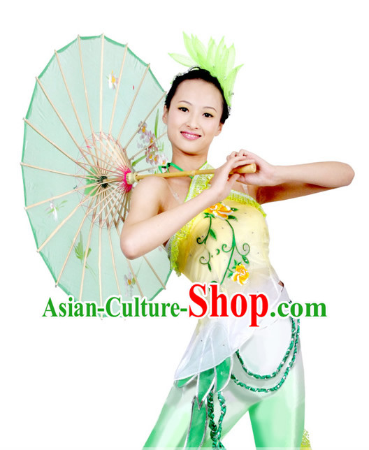 Traditional Chinese Umbrella Dance Costume and Headpiece for Women