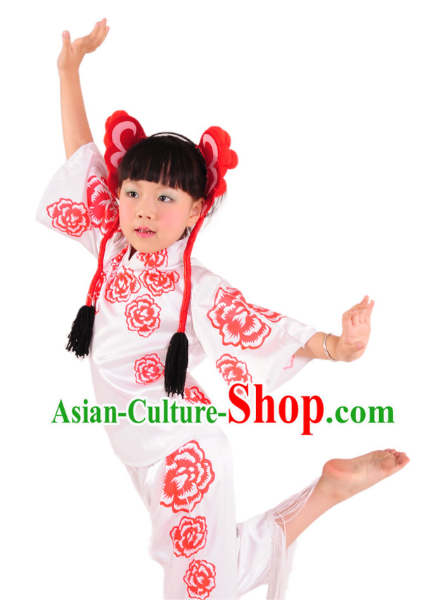 Traditional Chinese Paper-cut Dance Costume and Mask for Children
