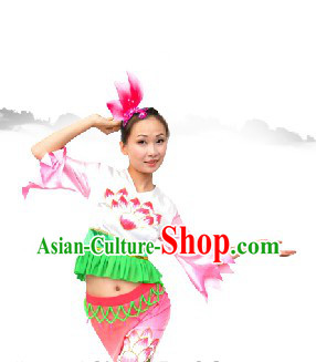 Chinese Classic Lotus Dance Costume and Lotus Headwear Complete Set