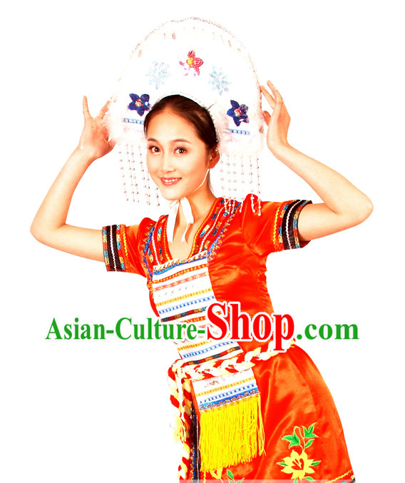 Chinese Taiwan Gaoshan Minority Stage Performance Dance Costume for Women
