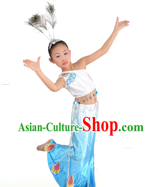 Chinese Dai Ethnic Peacock Dance Costumes and Hair Accessories for Kids