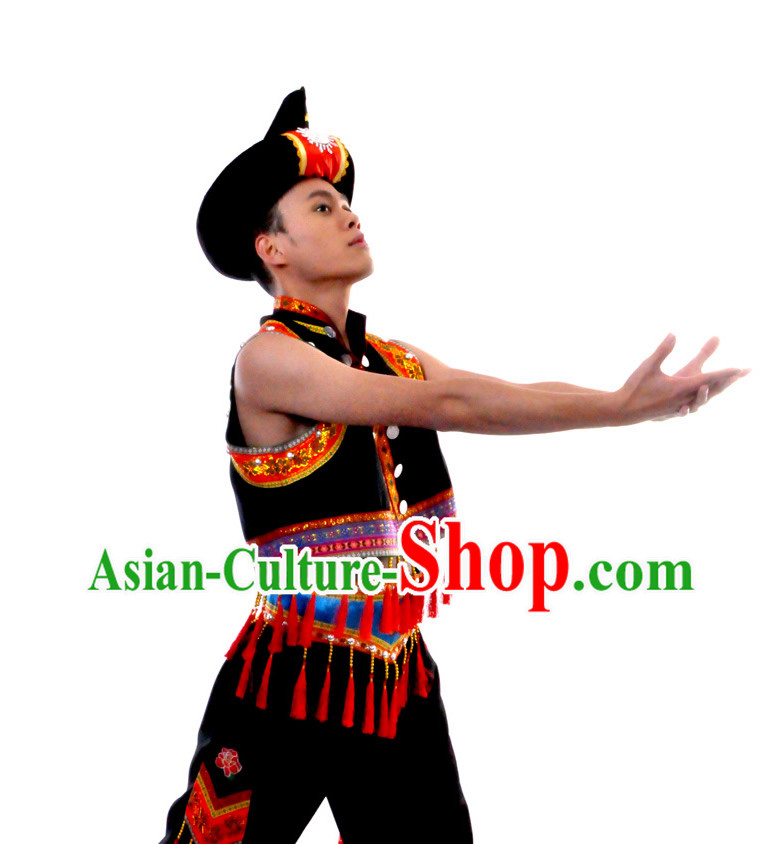 Chinese Yi Ethnic Clothes and Hat for Men