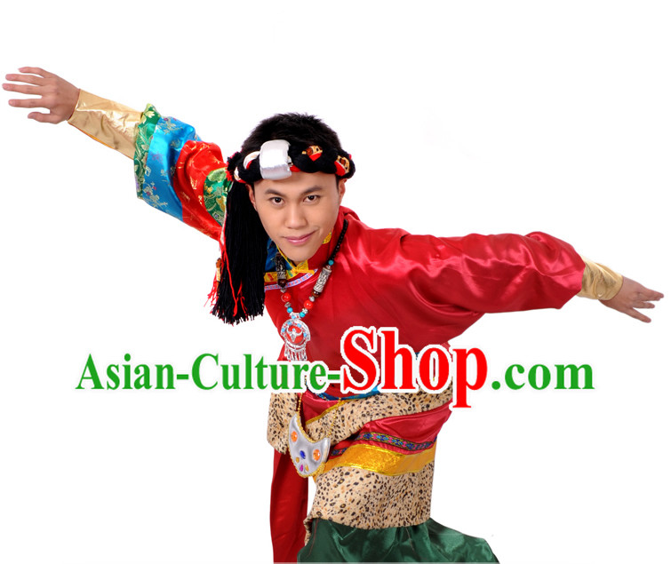 Traditional Chinese Tibetan Clothing and Hair Accessories for Men