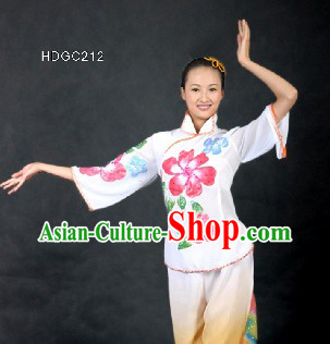 Chinese Flower Color Transition Yangge Dance Costumes for Women