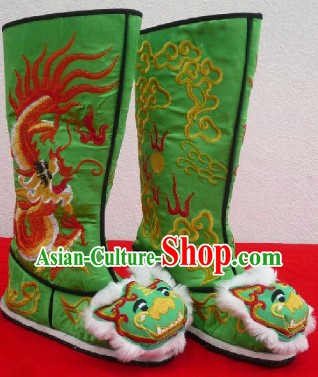 Chinese Classical Green Long Dragon Boots for Men