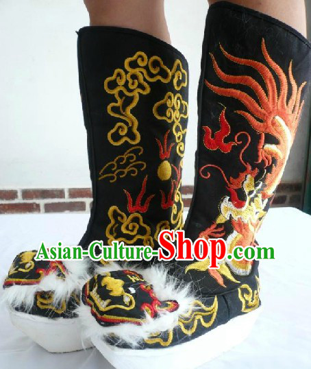 Chinese Opera General Black Embroidered Dragon Long Boots for Men