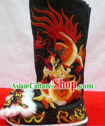 Chinese Stage Performance General Embroidered Long Boots for Men