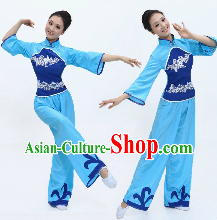 Chinese Classical Blue Folk Fan Dance Costume for Women