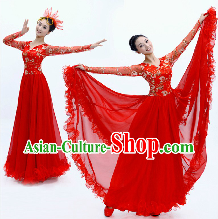 Traditional Chinese Red Dance Costumes and Headwear for Women