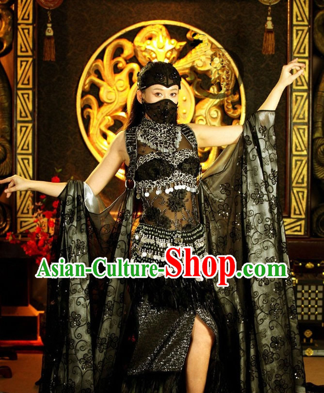 Ancient Chinese Beauty Black Dance Costume and Hair Accessories Complete Set