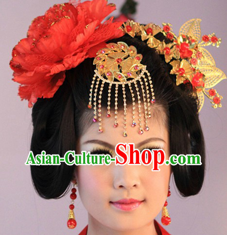 Traditional Chinese Tang Dynasty Lady Wig and Hair Accessories