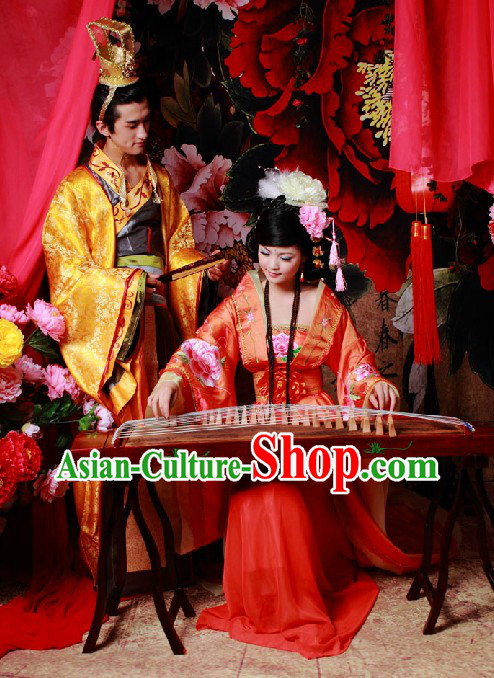 Ancient Chinese Lovers Clothing and Hat for Men and Women