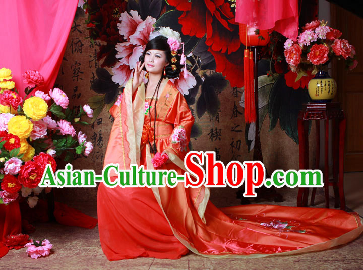 Ancient Chinese Brides Peony Flower Clothing for Women