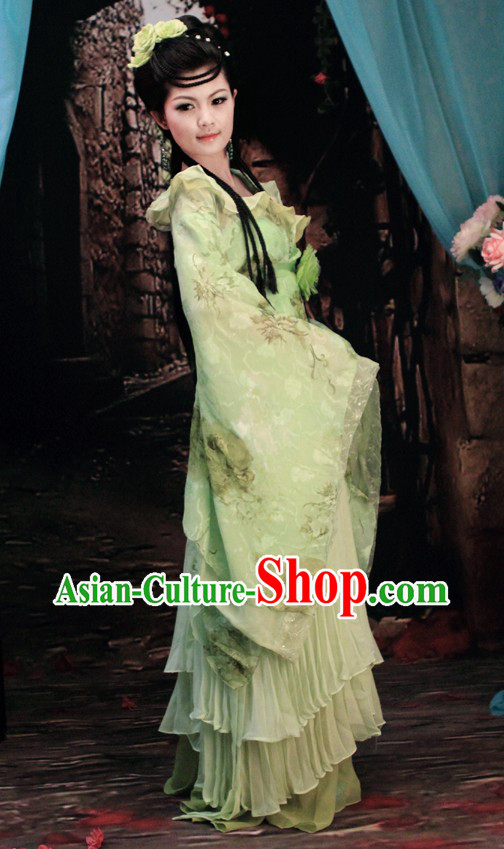 Ancient Chinese Green Flower Beauty Clothing and Hair Accessories