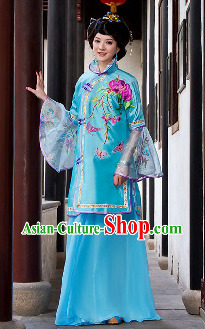 Traditional Chinese Blue High Collar Butterfly and Flower Clothing