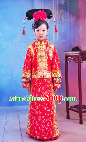 Traditional Chinese Qing Dynasty Princess Clothing and Headpiece for Children