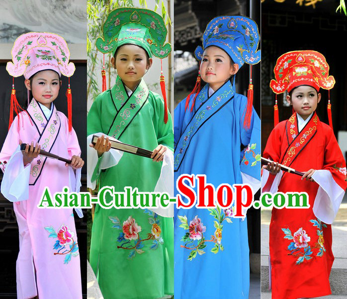 Ancient Chinese Students Costume Four Sets for Kids