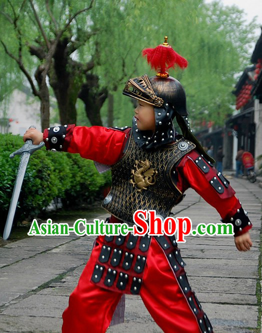 Ancient Chinese Palace General Costumes and Helmet and Shield for Kids
