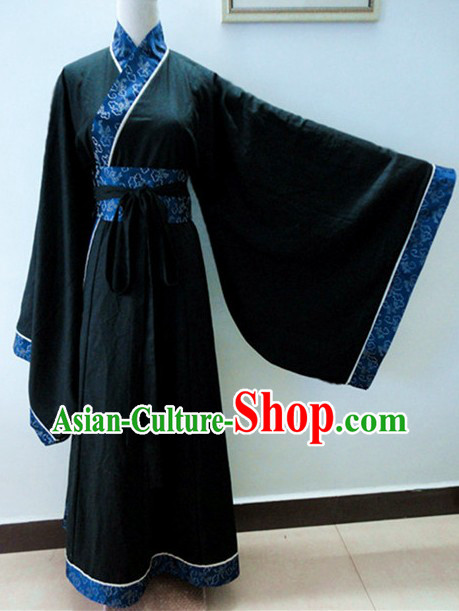 Ancient Chinese Han Dynasty Black Clothing for Men